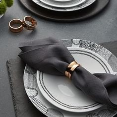 A doubled bracelet of beautiful copper-plated brass lends warmth and elegance to any table setting. Classic Dinnerware, Dinnerware Sets, Dining Room Table Decor, Wedding Picture Frames, Gold Wood, Wood Crates, Linen Napkins, Bridal Shower Gifts, Crate And Barrel