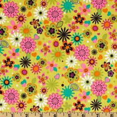 Amazon.com: Michael Miller Park Slope Ditsy Floral Citron Fabric: Arts, Crafts & Sewing