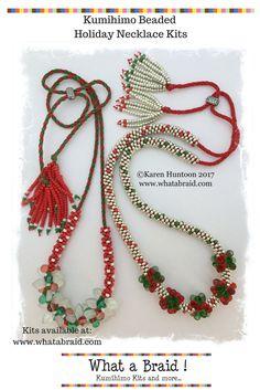 Beaded Kumihimo Necklace Kit, Christmas Kumihimo Necklace Kit, Holiday Kumihimo Necklace Kit