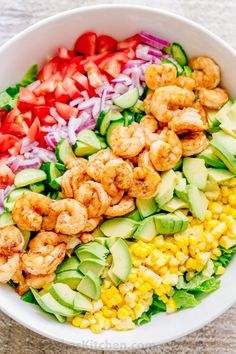 We could live off this shrimp avocado salad. It's crazy good and loaded with avocado, cucumbers, tomatoes, sweet corn and tossed with a light and easy cilantro-lemon dressing. This shrimp salad has all the best flavors of summer! Shrimp Avocado Salad, Avocado Salad Recipes, Shrimp Salad Recipes, Seafood Dishes, Seafood Recipes, Cooking Recipes, Recipes Dinner, Healthy Salads, Healthy Eating