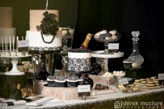 If your theme is less 'cotton candy' and more 'Great Gatsby'... don't fret! Incorporating black is not as hard as it seems. Think champagne, dark chocolate and everything in between. ~Melissa