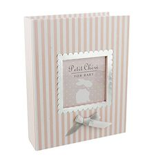 """Charming Pink and White Stripe Baby Girl First 4"""" x 6"""" Photo Album by Haysom Interiors"""