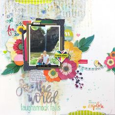Created for my Summer Scrappin' Series on my You Tube channel. Process video here: youtu.be/kezWCA-LYrg Smash Book Pages, Scrapbook Storage, Scrapbook Journal, Simple Stories, American Crafts, Scrapbooking Layouts, Mini Albums, Card Making, Paper