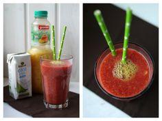 Experimente aus meiner Küche: Mango-Himbeer-Smoothie mit Kokoswasser