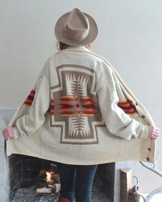 High Grade PENDLETON Wool Sweater 70s Navajo Native Cardigan KNIT BLANKET Boho Western Wear Mens Woolen American Classic Chief Joseph Jacket by HarlowGirls on Etsy
