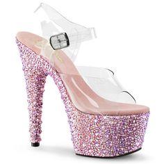 Pleaser BEJEWELED-708MS Clear Ankle Strap Sandals With Lavender Multi Rhinestones Platform