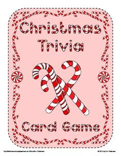 Christmas Trivia Card Game: This is a colorful Christmas trivia card game for 2-8 players. Questions revolve around Christmas carols, stories, traditions, and seasonal shows. Fun for all ages with questions ranging from easy to difficult.  Contents include: * 1 Game Instruction Sheet * 1 Card Mat (Front & Back) * 1 Card Back Template * 64 Printable Christmas Trivia Question Cards