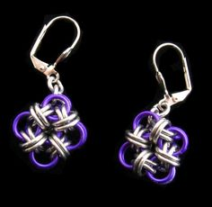 Outer Coloured Bicubix Blocks Chainmaille Earrings. $11.00, via Etsy.