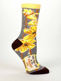 Grey Sunshiny Ass Socks give a feminine twist to a bad ass kinda girl. Orange and gold flowers on grey socks with KICK THIS DAY IN ITS SUNSHINY ASS on the side of each foot. By Blue Q for women. Blue Q Socks, Grey Socks, Funny Socks, Cute Socks, Awesome Socks, Women's Socks, Novelty Socks, Fashion Socks, Sock Shoes
