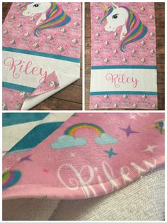 Personalized Unicorn Beach Towel, Monogram Towel, Camp Towel, Swim Towel, Pool Towel, Birthday Gift, Back to School, Nap Mat by TheBeeBoutiqueNC on Etsy