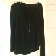 Black Forever 21 Shirt Black, soft, half button down, some stray threads Forever 21 Tops Tees - Long Sleeve