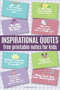 Free printable inspirational quote cards for kids! These adorable cards remind kids to be kind and never give up with quotes they will love. Perfect for lunchbox notes, random acts of kindness, or just because.