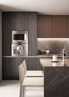 Maybe the kitchen should be tone on tone with hits of light and dark. Nice materials in this one.
