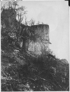 """""""Point of Lookout Mountain showing ladders used by Union soldiers at the """"Battle Above The Clouds."""" November 24, 1863. Photograph taken the day after the battle."""" Besieged in Chattanooga following their defeat at the Chickamauga in September, Union forces begin their breakout with a victory in the Battle of Lookout Mt."""
