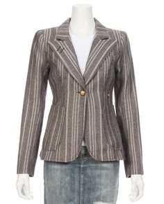 """Duchess blazer in striped tweed with suede elbow patches. Peaked lapels and single button placket. Patch front pockets. Padded shoulders. Back vent. Lined.Shell made with 56% Wool and 44% Linen.Lining made with 100% Cupro.Measurements from a size 4Length: 24.5""""from shoulder"""