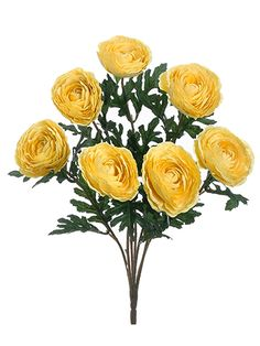 Silk Ranunculus Bush in Soft Yellow - 19in. Tall Looking for yellow wedding flowers or craft flowers? Shop Afloral.com for inexpensive silk flowers in many colors and styles like this artificial ranunculus bush in soft yellow. Simply clip these soft yellow ranunculus flowers off the bush and add to a variety of floral projects or DIY craft arrangements to complement a pastel spring look! #afloral
