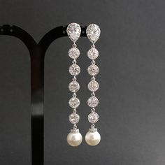 Pearl Wedding Jewelry Bridal Earrings Cubic Zirconia Teardrop Round White Long Pearl Earrings Silver Posts Wedding Earrings on Etsy, $43.50