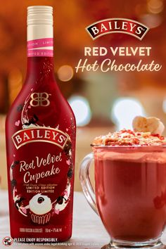 Your cup of cocoa is about to get a whole lot sweeter. Introducing NEW Baileys Red Velvet limited edition flavour is available now. Winter Drinks, Summer Drinks, Cocktail Drinks, Fun Drinks, Healthy Drinks, Alcoholic Drinks, Beverages, Baileys Drinks, Happy Hour Drinks