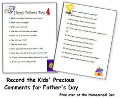 FREE Printables: Record the Kids' Precious Thoughts for Father's Day