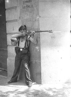 Republican soldier by Agustí Centelles.  Barcelona, 19.07.1936. Spanish Civil War. // Agustí Centelles [died 1985] was one of the most respected Spanish photojournalists. He made history visible across a wide range of events in Spanish history, including being the only photographer known to have made pictures in Barcelona on the first day of the Spanish Civil War in July, 1936.