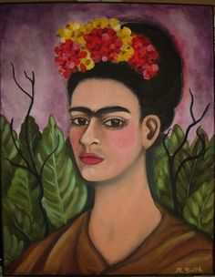 Frida with Leaves and Mexican Flowers by OneWildSwan on Etsy SOLD!