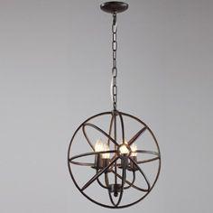 Luminaire suspendu noir avec chandelier quatre bras à l'intérieur. Idéal pour entrée, escalier, chambre à coucher, salon et cuisine.