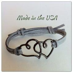 Double heart bracelet Love bracelet Charm by QberryCreations, $5.00