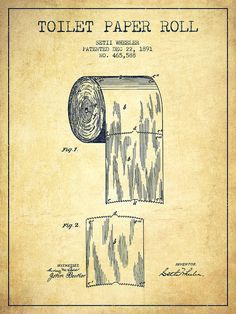 Toilet Poster featuring the drawing Toilet Paper Roll Patent Drawing From 1891…
