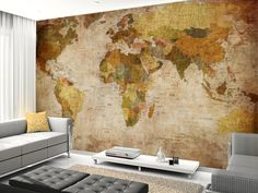 Old Style World Map wall mural living room preview
