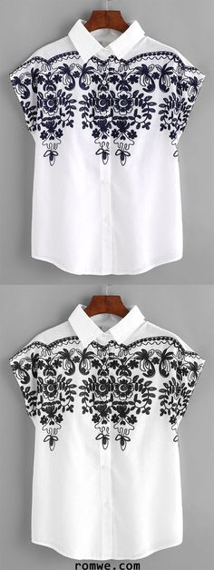 Batwing Sleeve Embroidery Shirt