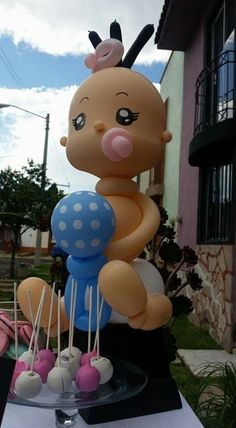 adornos con globos para baby shower niña Baby Balloon, Baby Shower Balloons, Baby Shower Cakes, Baby Boy Shower, Ballon Decorations, Baby Shower Decorations, Christening Balloons, Balloon Crafts, Balloons And More