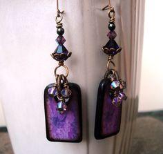 Handmade Earrings, Lovely Purple Floral Art Tiles, Brass.  Use the bottom half