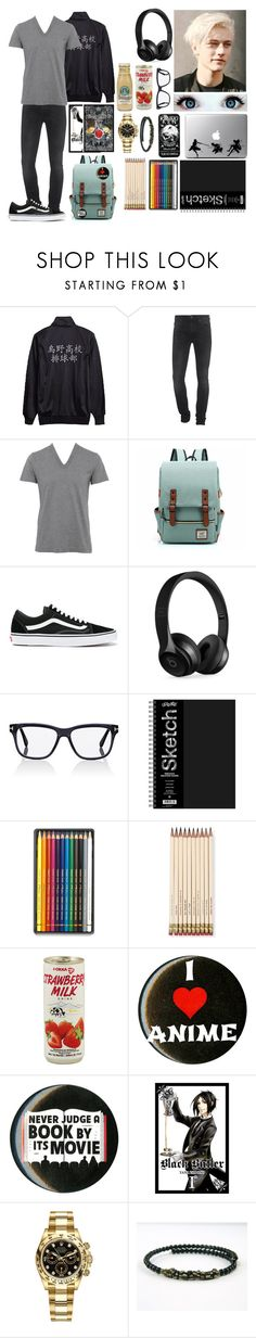 """Diary of a wimpy kid oc"" by gglloyd ❤ liked on Polyvore featuring 7 For All Mankind, D&G, Vans, Beats by Dr. Dre, Tom Ford, WALL, Caran D'Ache, Kate Spade, Rolex and men's fashion"