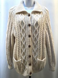 0571018c7176d8 Vintage Aran Wool Cardigan Sweater Womens M Chunky Handknit Cable UK Jumper  Cozy #Antartex #