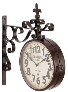Fleur De Lis Living Candor Rustic Iron Central Station Vintage Double Sided Wall Clock