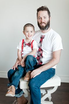 Father Son Holiday Set of 2 Items. Tie or by ChicCoutureBoutique Bowtie And Suspenders, Tied T Shirt, Red And Black Plaid, Plaid Christmas, Mini Me, Father And Son, Matching Outfits, Sons, Daddy