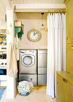 use hanging curtain rod, and curtains over machines in laundry room