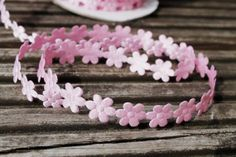 Pink Daisy chain motif ribbon for sewing and craft by scratchycat, $1.00