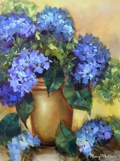 Artists Of Texas Contemporary Paintings and Art - Rainy Monday Blue Hydrangeas by Floral Artist Nancy Medina