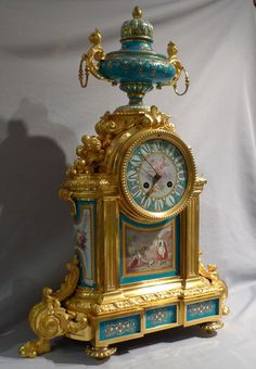 Antique very large mantel clock in ormolu and jewelled and hand painted bleu celeste porcelain. - Gavin Douglas Antiques