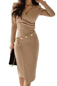 Buy Surplice Ruched Single Breasted Decorative Button Plain Bodycon Dress online with cheap prices and discover fashion Bodycon Dresses at fashionme to be fashionable now. Trend Fashion, Fashion Tips, Women's Fashion, Fashion Ideas, Fashion 2018, Classy Fashion, Winter Fashion, Feminine Fashion, Ladies Fashion
