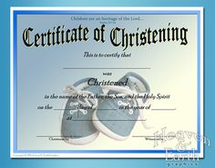 A certificate with a script title and leaf design to be presented to baby christening certificate template free baby boy baptism dedication and christening certificates yelopaper Images