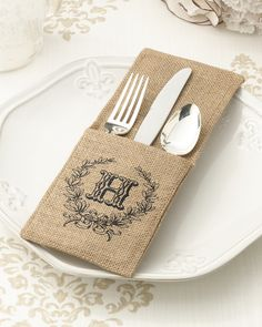 Decorate your wedding tablescape with personalized burlap silverware holders!