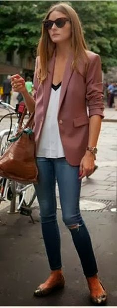 Olivia Palermo Street Style: Blazers and Jeans