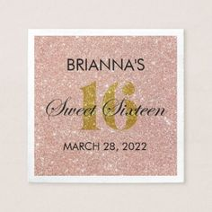 Rose Gold Glitter Sweet 16 Personalized Napkin - glitter gifts personalize gift ideas unique