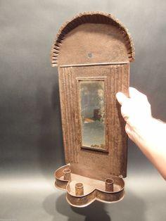 RARE Large Primitive Antique Iron Tin Mirror Lighting Candle Sconce.    Sold  Ebay   349.00