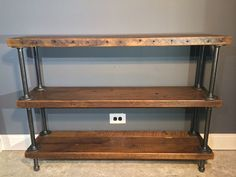 """Reclaimed Wood Shelf/Shelving Unit with 3 Shelfs-industrial Urban look with gas pipe - Free Shipping-48""""L x 12""""W x 35""""H"""