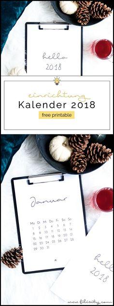 [ Free Printable ] Minimalistischer Kalender für 2018 - Druckvorlage   Filizity.com   Interior-Blog aus Koblenz #neujahr #diy #download