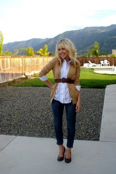 belted cardigan and button down