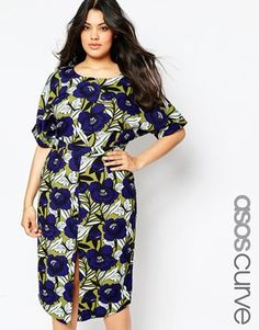 ASOS CURVE Wiggle Dress with Split Front in Floral Print